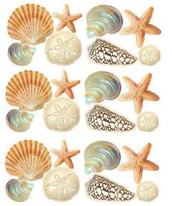 WALLIES SEASHELLS wall stickers 24 decals bathroom decor shells ocean sea beach