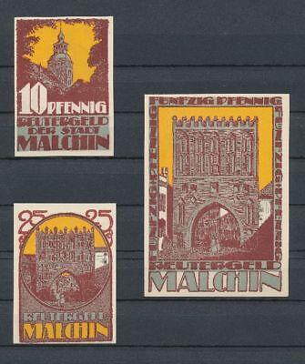 Malchin - 3x Reutergeld, Lindman 838a, Mehl 862.1, kompl. Satz
