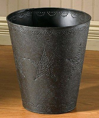 Western Star Punched Black Metal Tin Waste Basket Country Decor Log Cabin - Decorative Metal Waste Basket