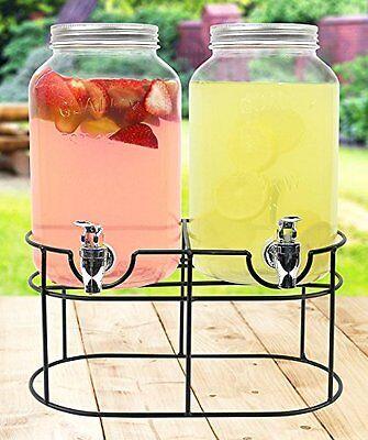 Estilo Glass Mason Jar Double Beverage Drink Dispenser On Metal Stand With Leak