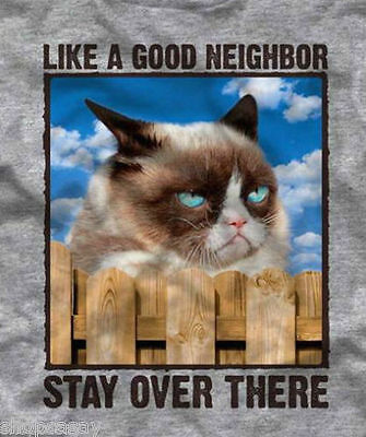 grumpy cat like a good neighbor stay over there grey adult t shirt
