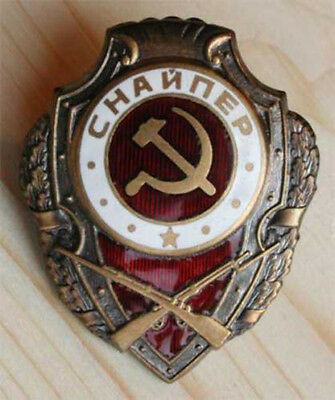 RED ARMY WWII BADGE SOVIET SNIPER INSIGNIA COMMUNIST HAMMER SICKLE EMBLEM USSR
