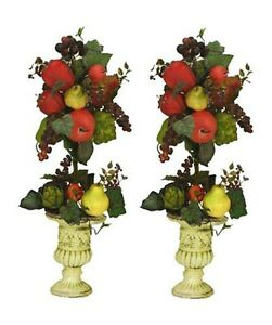 TWO-27-Artificial-Mixed-Fruit-Topiary-Pre-potted