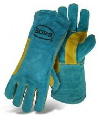 Boss 1jl0946k Green Welder Gloves Split Cowhide Leatherfully Line Size L Each