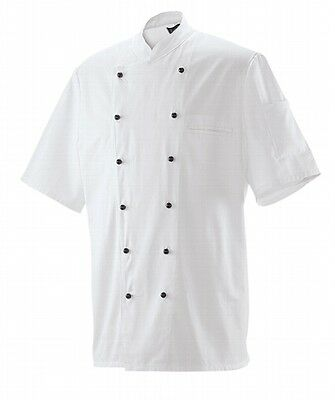 Kurzarm Jacke Mit Knöpfen (Kochjacke Bäckerjacke kurzarm weiß Berufsbekleidung mit Knöpfe Restposten)