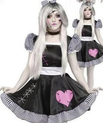 Halloween Broken Rag Doll Fancy Dress Costume Zombie Ghost Womens Outfit (Womens Rag Doll Halloween Costume)