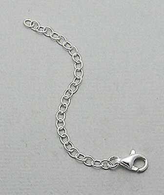 """3"""" Solid Sterling Silver Open Link Chain Necklace Extender 76x3mm Lobster Clasp"""