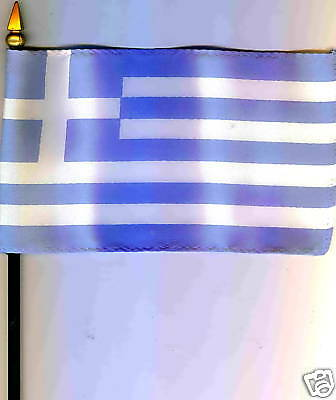 "Greece Ellás -Hellenic Republiic 4""x6"" Flag on Pole NEW"