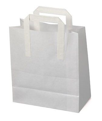 100 x High Quality LARGE WHITE Kraft Paper SOS  Carrier Bags 10x5.5x12.5