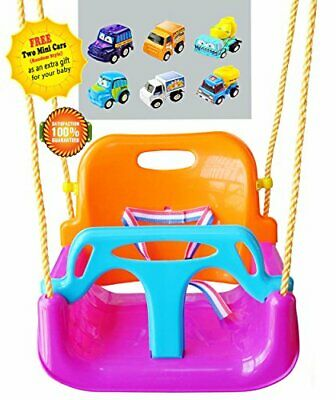 LITTLEFUN 3-in-1 Infant to Teenager Detachable Secure Kid Swing Set for Home