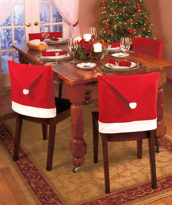 Simple but effective Santa hats for chairs!