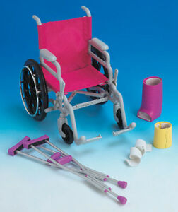"NEW:100% genuine Newberry Wheelchair & Crutch Set for 18""dolls"