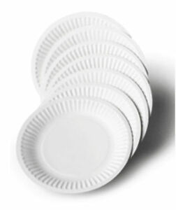 Pack Of 100 White Disposable Paper Plates perfect for BBQ and parties 7