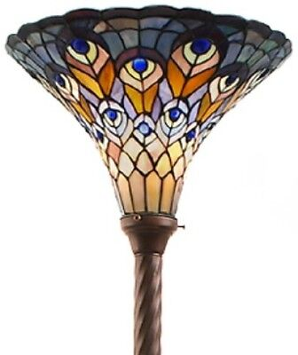 Antique Tiffany-style Peacock Torchiere Lamp Tiffany Lamps Torch Floor (Peacock Metal Floor Lamp)