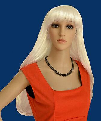 Neu Perücke glatt  lang Haar Kostüm Party Fasching Halloween Perrücke wigs weiß