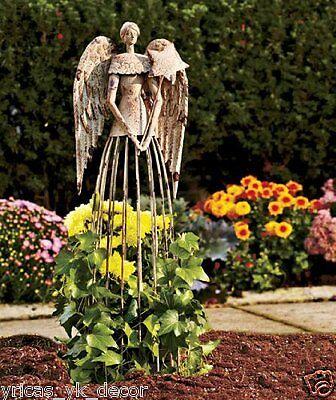 Antiqued Garden Angel Metal Cherub Statue Outdoor ...