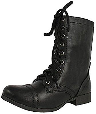 Girl's Youth SODA RELAX Black Combat Zip Up Fashion Casual/Dress Boots NEW