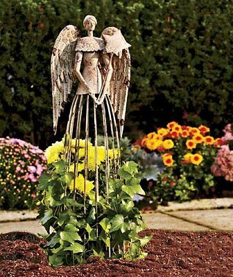 26''H Antiqued Metal Garden Angel Lawn Yard Patio Statue Outdoor Yard Art - Yard Decor