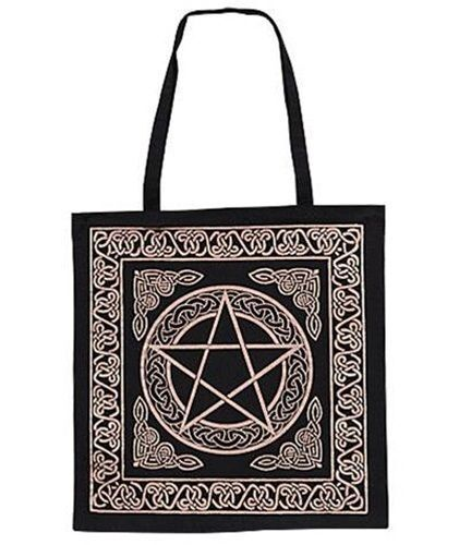 Black and Gold Celtic knots Pentacle Pentagram TOTE Wicca BAG FREE SHIPPING