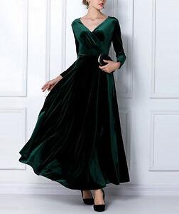 NEW Fashion Autumn Winter Dress Women's Velvet  V-neck Maxi Dress SIZE 8 - 16