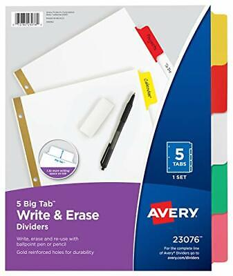 Avery Big Tab Write Erase Dividers 5 Multicolor Tabs 1 Set 23076 1-pack