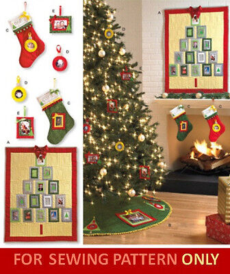 SALE! SEWING PATTERN! MAKE CHRISTMAS DECORATIONS! PHOTO SOCKS~ORNAMENTS~SKIRT