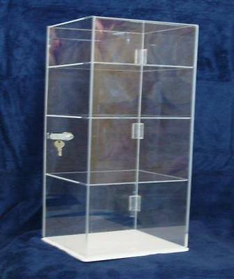 Acrylic Countertop Display Case 8x8x20.5 Locking Security Showcase Shelves