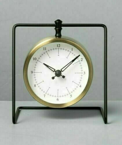 Hearth & Hand Sit About Hanging Clock Brass & Black Analog Farmhouse Rustic NWT