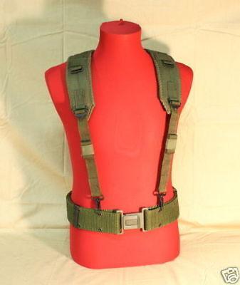 US Military Load Bearing Suspenders Y-Strap w MEDIUM Pistol Waist Belt FAIR