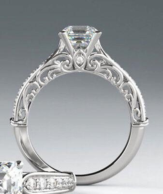 14k white gold ring 1.27 ct, 1.03 ct GIA cert. Emerald cut Diamond  D SI2 #603 1