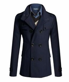 Mens Double Breasted Over Coat Jacket - Slim Fit - Size (UK L)