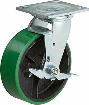 6 Inch Swivel Caster - 6 X 2 Green Polyurethane On Iron Wheel - 1200 Lb Weight C