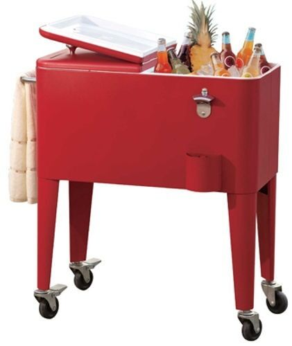 Sunjoy L BC153PST Red 60 Quart Portable Rolling Patio Ice Chest Cooler Cart