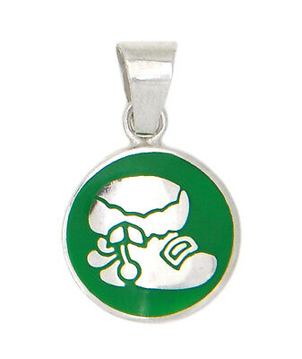 STERLING SILVER CHRISTMAS BOOT - SHOE DISC WITH GREEN ENAMEL CHARM OR PENDANT