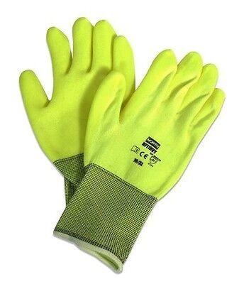 North by Honeywell NorthFlex Neon NF11HVY Hi-Viz Yellow PVC Palm Coated Gloves Business & Industrial
