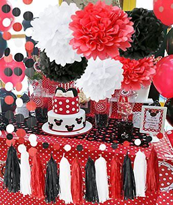 Minnie Mouse Party Supplies White Black Red Baby Ladybug Birthday Decorations First Girl Tissue Paper Pom Tassel Garland