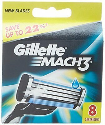 Gillette Mach3 Refill Cartridge Razor Blades for Mach 3, 8 C