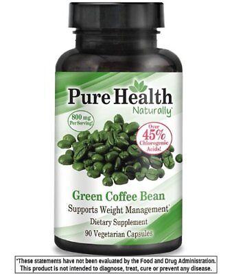 BEST Genesis Pure Health Green Coffee Bean Extract 800mg Serve 90 Caps 45%+ CA