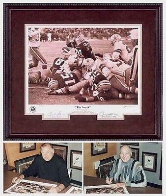 Bart Starr Signed Autographed Kramer Packers Ice Bowl Sneak Photo Framed Print