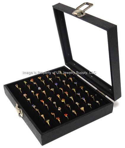 1 Glass Top Lid Black 7 Row Tufted Ring Display Organizer Storage Box Case