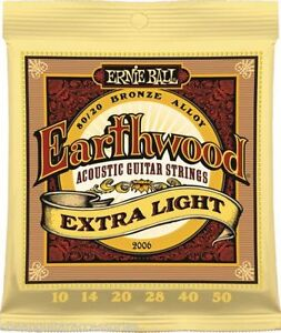 ernie ball 2006 earthwood extra light 10 50 acoustic guitar strings ebay. Black Bedroom Furniture Sets. Home Design Ideas