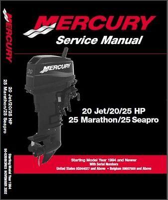 Mercury Outboard Shop Manual - Mercury Outboard 20 Jet 20-25hp 2 Stroke OEM Service Shop Repair Manual On CD