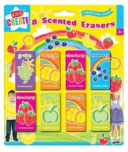 8 x Fruit Scented Smelly Erasers Rubbers - Kids Christmas Stocking Filler Toy