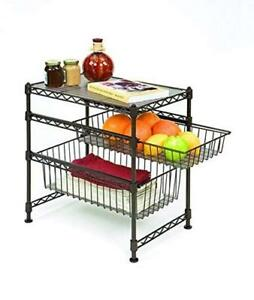 "NEW Seville Classics Double Basket Stackable Cabinet Organizer 11.5"" D x 17.5"" W x 18.5"" H Condition: New"