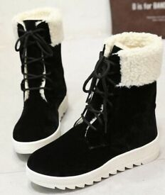 Ladies New Cream Shearling Look Black Faux Suede Lace Up Boots.Size 4 (Size 37).P&P INCLUDED!