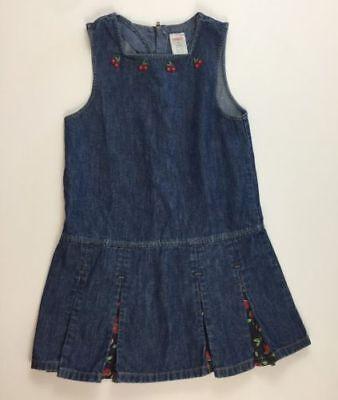 Gymboree Girls 6 Very Cherry Cute Denim Jean Jumper Dress