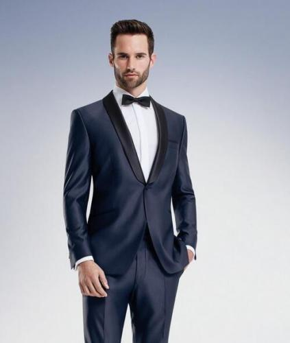 Navy Blue Tuxedo Black Shawl Lapel Suit