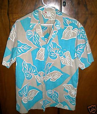 "VINTAGE 1950's ""ALOHA HAWAIIAN FASHIONS"" SHIRT ANTHURIUM L ROCKABILLY"