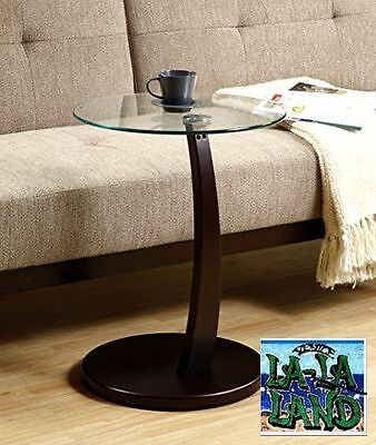 Coffee Side End Round Accent Table Glass Top Wood Modern Living Room Furniture n