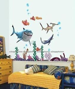 Finding nemo sharks wall stickers colourful fish sea for Pegatinas de peces